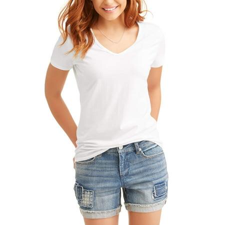 1d2fcaa280a9 Time and Tru - Women's Elevated Short Sleeve V-Neck T-Shirt - Walmart.com