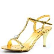 Celeste Mari-03 Gold Rhinestone T-Strap Evening Shoes, Gold, 6 B(M) US