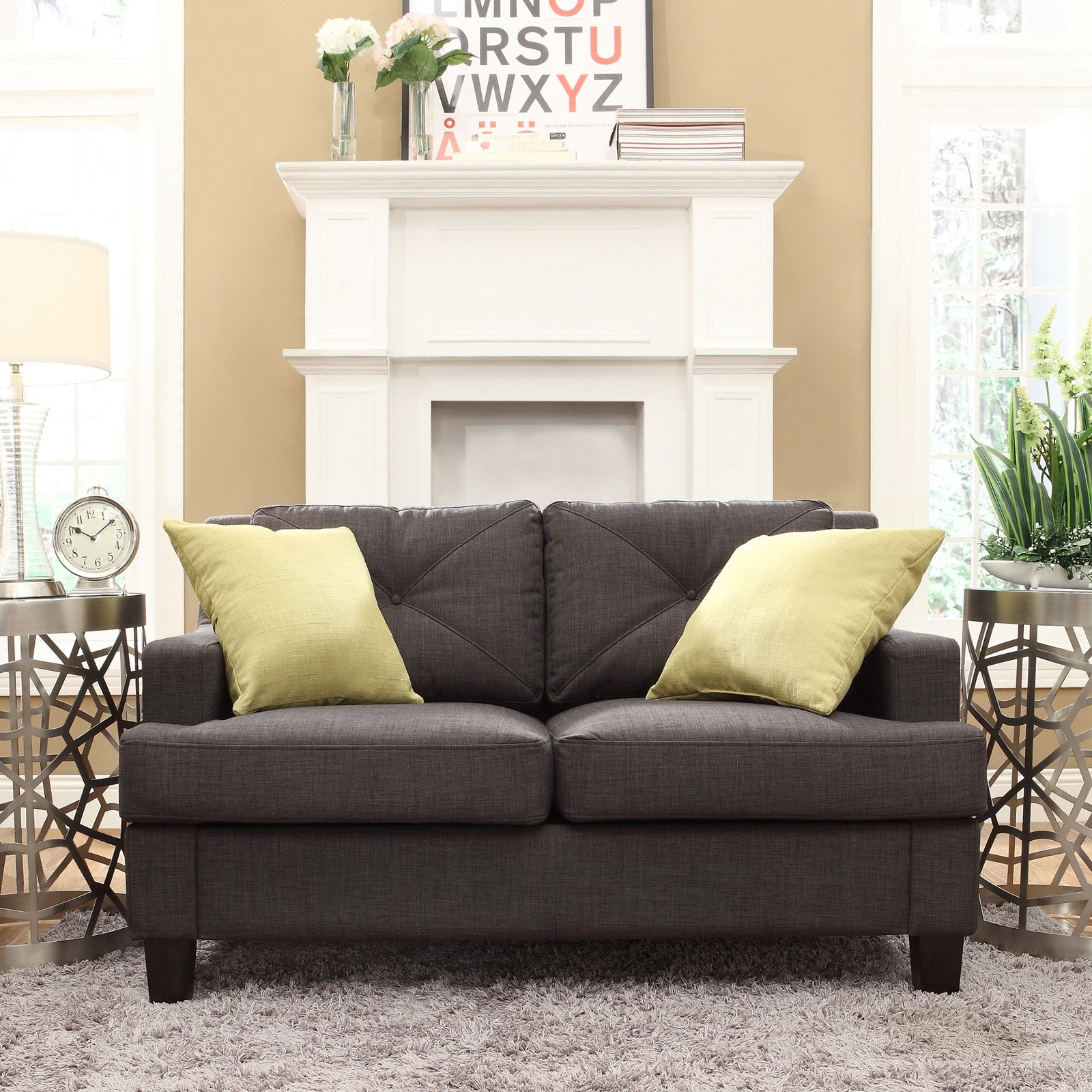 Chelsea Lane Upholstered Tufted Loveseat - Dark Gray