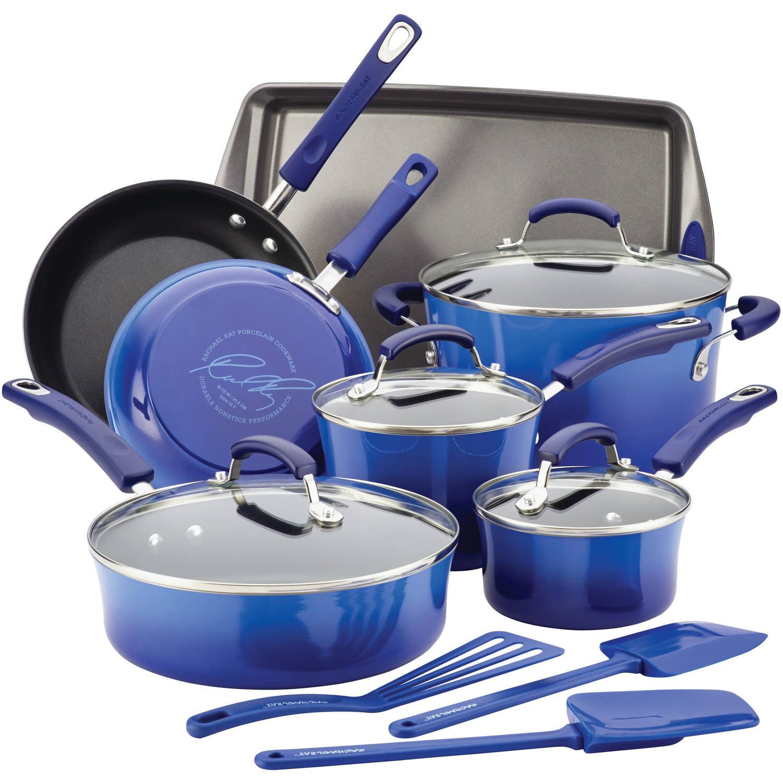 Rachael Ray Hard Enamel Nonstick 14-Piece Cookware Set, Blue Gradient by Meyer Corporation