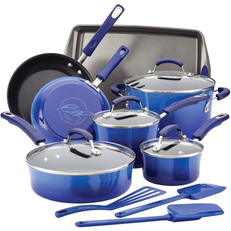 Rachael Ray Hard Porcelain Enamel Nonstick 14-Piece Cookware (Rachael Ray 2 Piece Nylon)