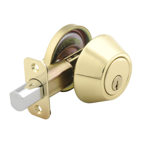 Mountain Security Deadbolt Single Cylinder, Polished Brass