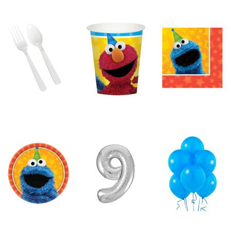 SESAME STREET PARTY SUPPLIES PARTY PACK FOR 16 WITH #9 BALLOON AMZ ONLY