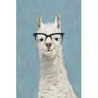 Llama Specs II Whimsical Glasses Hipster Cute Animal Humor Portrait Print Wall Art By Victoria Borges