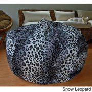 Faux Animal Fur Washable 36-inch Bean Bag Chair Snow Leopard