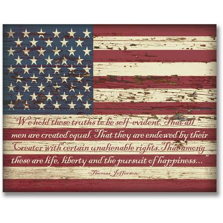 Personal Prints Vintage Usa Flag Block Mount Print