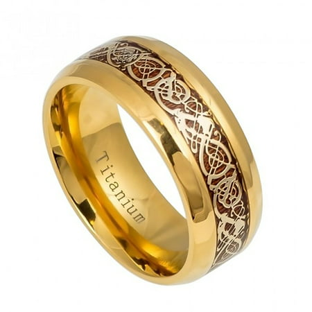 9mm Yellow Gold IP Titanium with Yellow Gold IP Celtic Design Over Rosewood Inlay-  Wedding Band Ring For Men Or Ladies