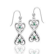 Lucky in Love - Irish Shamrock Hearts Sterling Silver Earrings