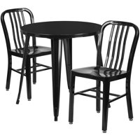 Lancaster Home 30'' Round Metal Indoor-Outdoor Table Set with 2 Vertical Slat Back Chairs