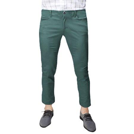 Slanted Pocket (Menid Rise Zip Fly Slant Pockets Casual Cropped Pants)