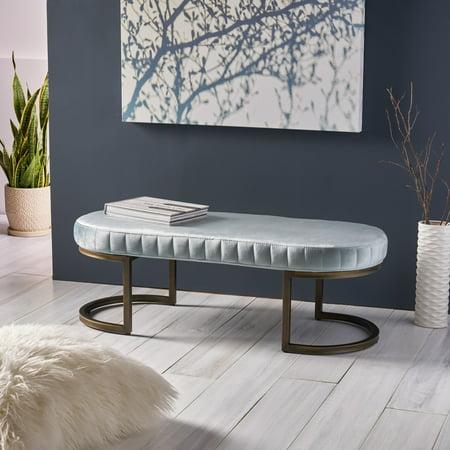 Nash Modern Glam Velvet Bench,  Iron Frame, Side Channels, Seafoam Blue and Brass