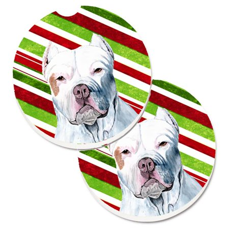 Carolines Treasures SC9341CARC Pit Bull Candy Cane Holiday Christmas Set of 2 Cup Holder Car Coaster - image 1 of 1
