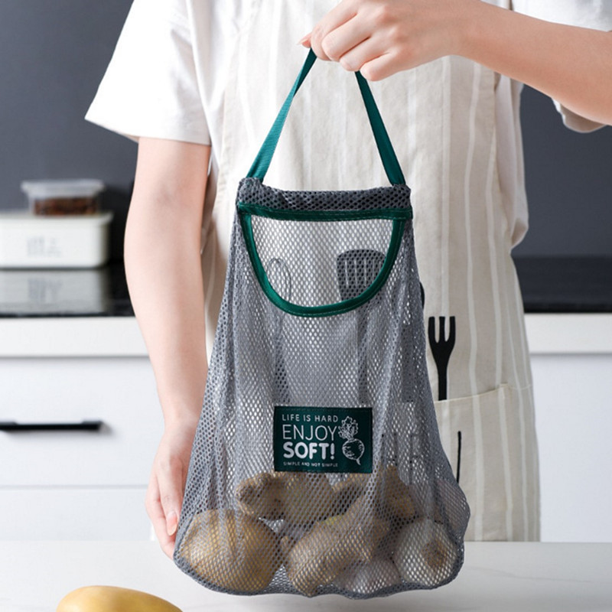 1x Mesh Net Breathable Hanging Storage Bag Fruit Vegetable Garlic Onion Hanging