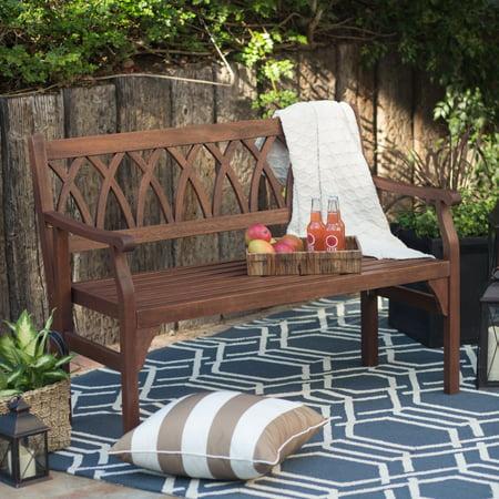 Belham Living Ashbury 4 ft. Outdoor Wood Garden Bench - Dark Brown 4' Classic Teak Bench
