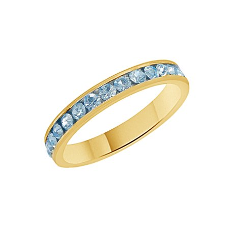 Aquamarine Ring Band - Simulated Aquamarine CZ Eternity Anniversary Band Ring In 14k Yellow Gold Over Sterling Silver