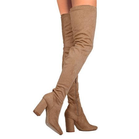 CAPE ROBBIN betisa-4 Women's Side Zip Block Heel Stretchy Snug Fit Thigh High Boots, Color:TAUPE, Size (Zip High Heel)