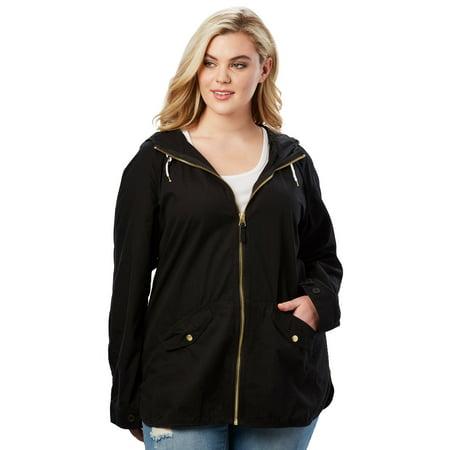 Roaman's Denim 24/7 Plus Size Hooded Anorak Jacket ()