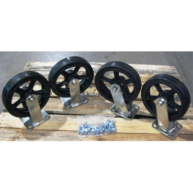 Wesco 272201 5 inch Moldon Rubber Casters for Steel Platform Truck