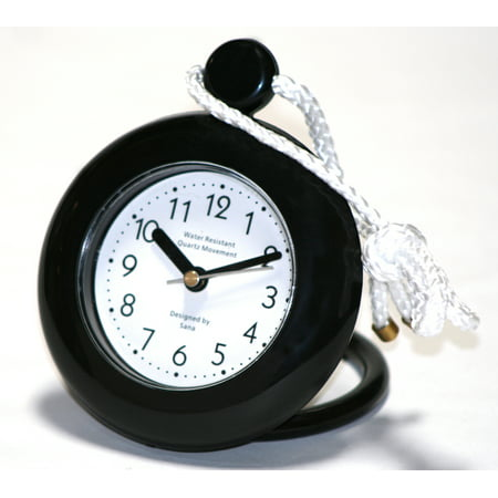 Teaching Hands Clock (Our black bathroom shower rope clock with a clear easy to read clock face is water-resistant and engineered with a superior quartz movement and turning second hand for accurate timekeeping)