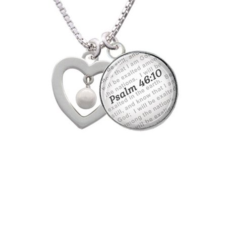Open heart with Imitation Pearl Drop - Bible Verse Psalm 46:10 Glass Dome  Necklace