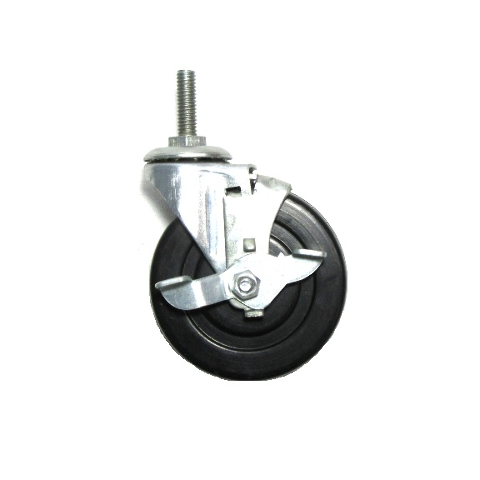 """Swivel Caster 3"""" x 13/16"""" Black Rubber Wheel with 5/16"""" 18 x 1"""" Threaded Stem a"""
