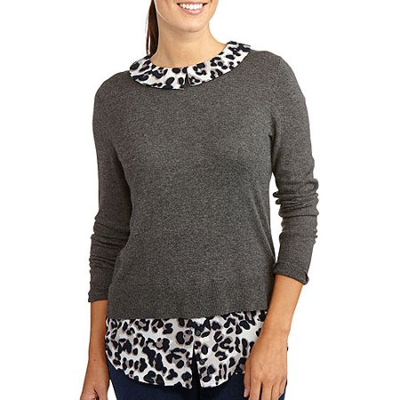 George - Women s Animal Print 2-fer Sweater - Walmart.com ef2665f9b