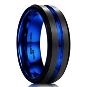 DUO Tungsten Wedding Bands 7mm for Men Beveled Edge Brushed 14