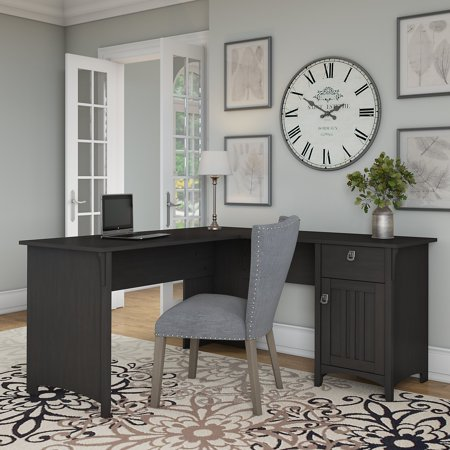 Bush Furniture Salinas L Shaped Desk with Storage in Vintage Black ()