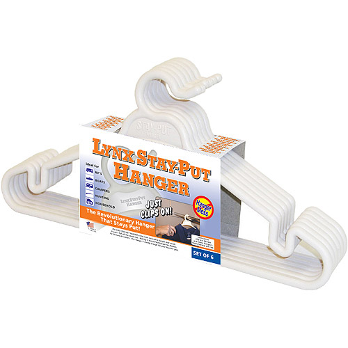 Lynx Stay-Put Non-Slip Plastic Hangers Set of 6, for RVs, Campers, Boats & Home (Tri-Lynx 1200W)