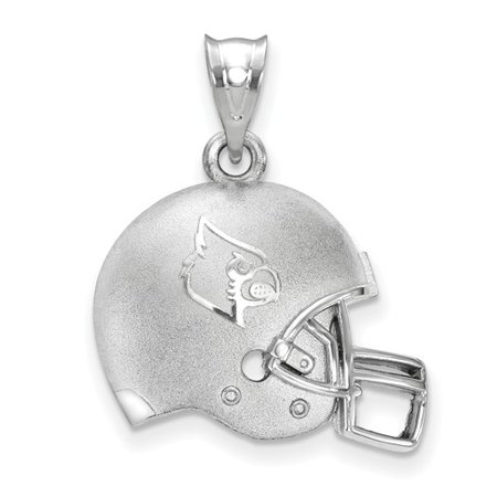 University Of Louisville Cardinal Football - Sterling Silver LogoArt Official Licensed Collegiate University of Louisville (UofL) 3D Football helmet w/Logo Pendant