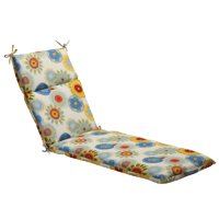 """72.5"""" Eco-Friendly Blue Multi-Colored Floral Outdoor Chaise Lounge Cushion"""