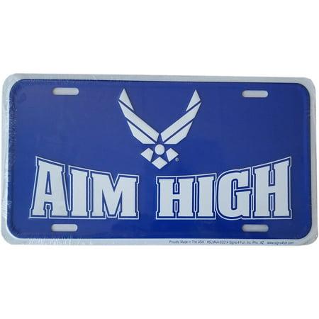 Blue USAF US Air Force AIM HIGH Metal License Plate Embossed Stamped Car Truck Tag