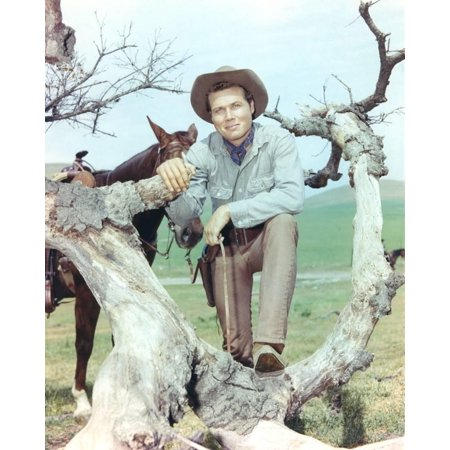 Laramie Cast posed on Tree Branch Cowboy Outfit Print Wall Art By Movie Star News
