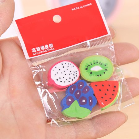 4PCS/Set Cute Fruit Design Eraser Watermelon Orange Erasers Student Gift Office School Supplies](Cute School Supplies Online)