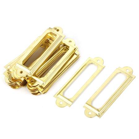 Post Office File Drawer 60X17mm Card Holder Tag Label Frame Gold Tone 30Pcs