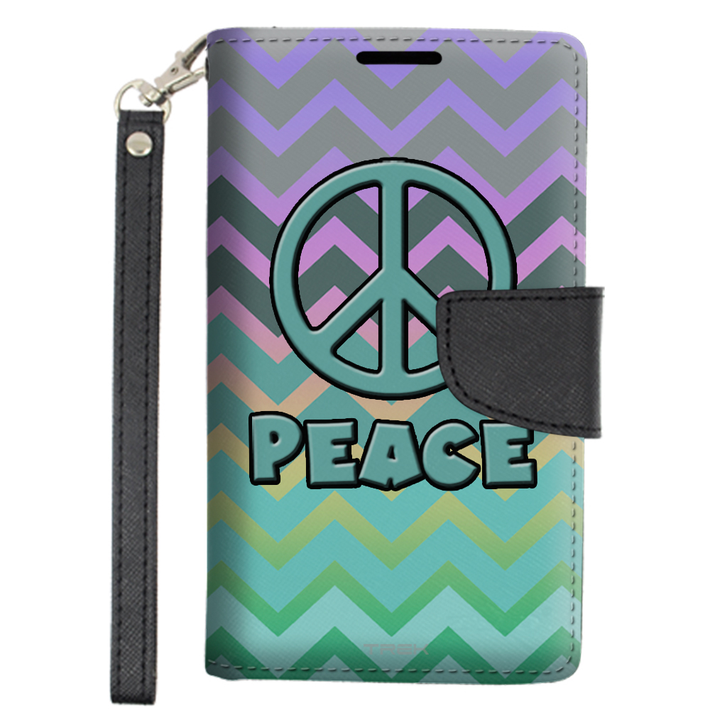 Alcatel OneTouch Conquest Wallet Case - Peace on Chevron Grey Green Turquoise on Rainbow