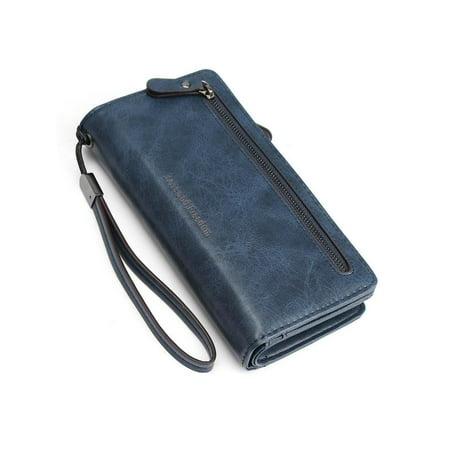 PU Leather Long Wallet Clutch Handbag Zipper Organizer Wristlets Card Cellphone Holder Purse for Women Lady Girls 7.9inch