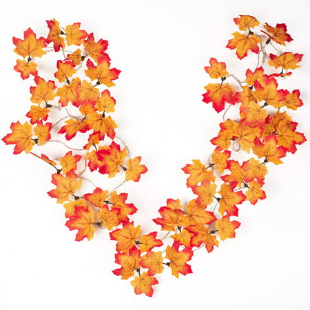 Diy Halloween Garlands (Coolmade Fall Maple Leaves String Lights, 14ft Maple Garland 30 LED Lighted Fall Garland for Halloween Thanksgiving Christmas Decor)