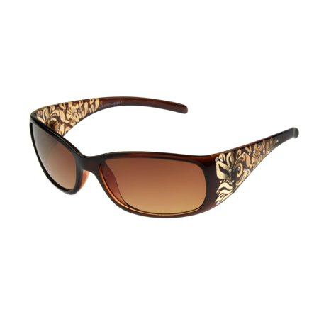 Foster Grant Women's Brown Wrap Sunglasses G06 Brn 1 Brown Sunglasses