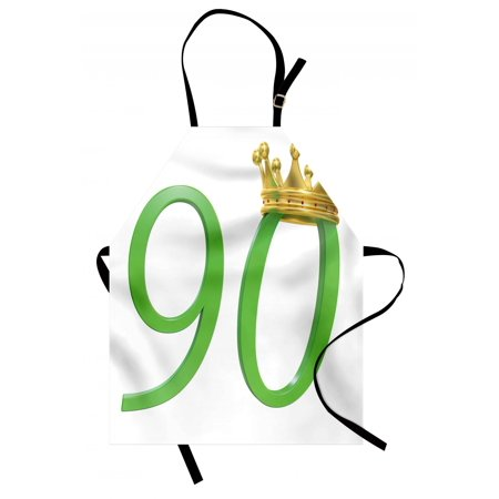 90th Birthday Apron 3D Style Design with Number Ninety Queen Crown Celebration Theme Print, Unisex Kitchen Bib Apron with Adjustable Neck for Cooking Baking Gardening, Yellow Green, by Ambesonne](Ideas For 90th Birthday Celebrations)