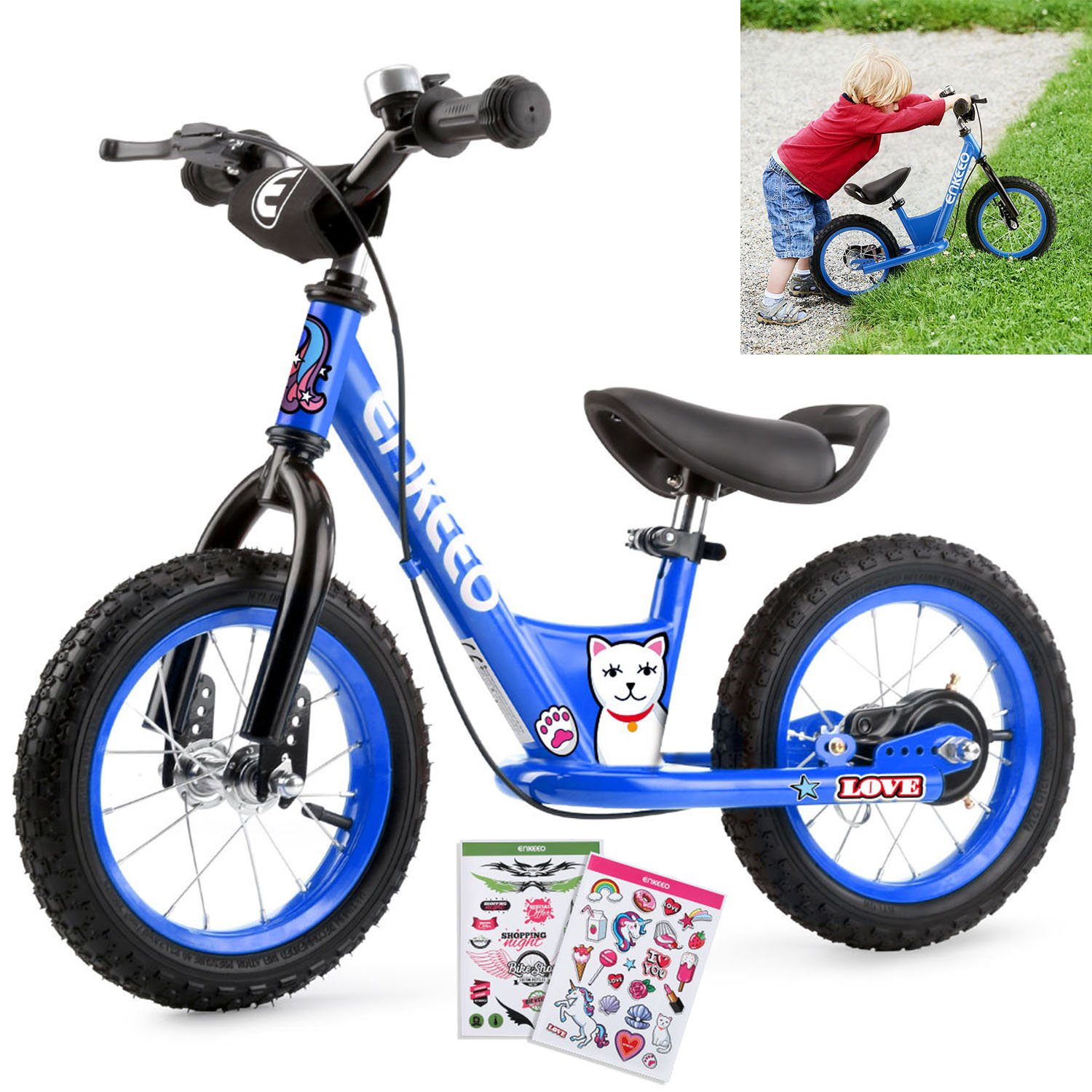 """ENKEEO 14"""" Sport Balance Bike No Pedal Walking Bicycle with Carbon Steel Frame, Adjustable Handlebar and Seat, 110lbs Capacity for Kids Toddlers Ages 2 to 6 Years Old"""