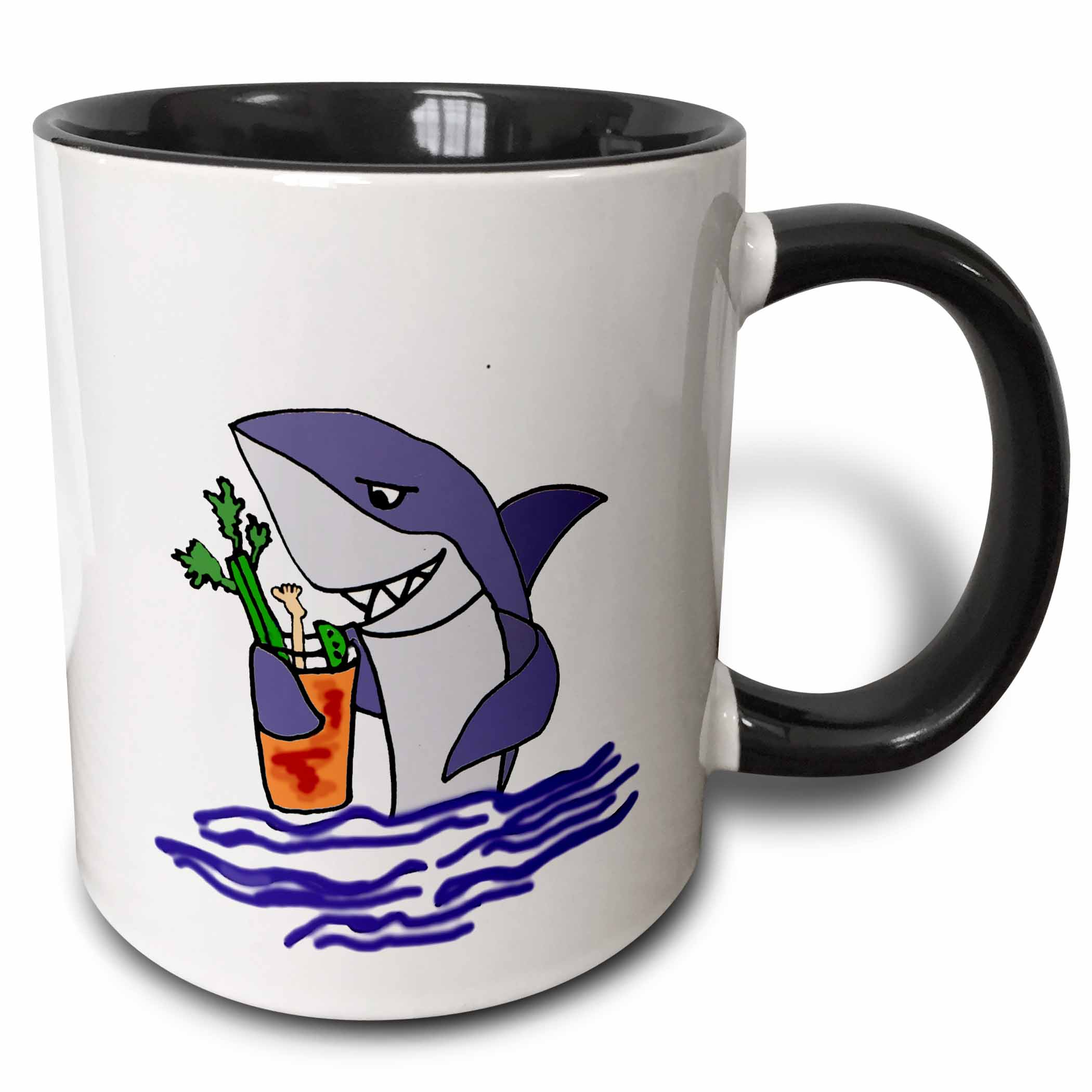 3dRose Funny Shark Drinking Bloody Mary Drink - Two Tone Black Mug, 11-ounce