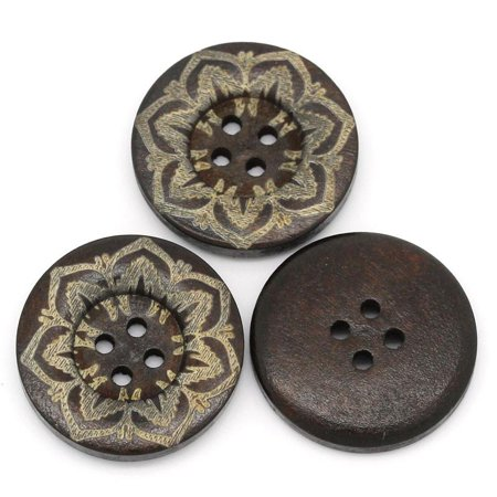 Sexy Sparkles 5 Pcs Round Dark Brown Wood Buttons Flower 24mm