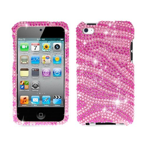 Bling Rhinestone Protector Case for iPod Touch 4th Gen - Zebra Pink/Hot Pink