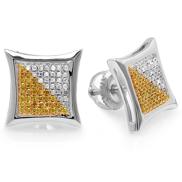 0.38 Carat (ctw) White & Yellow Round Diamond Micro Pave Setting Kite Shape Stud Earrings