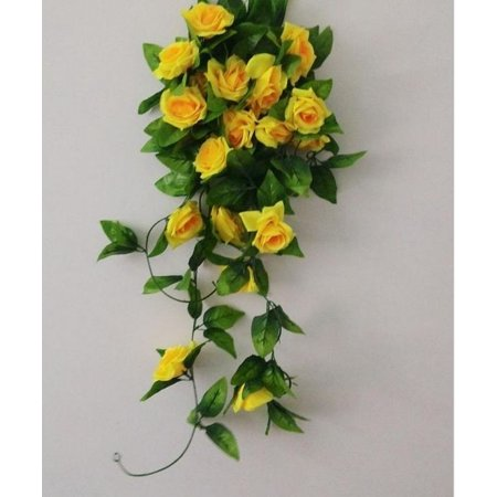 Artificial Fake Rose Silk Flower Green Leaf Vine Garland Ivy Vine Hanging Garland Home Wall Party Decor Wedding Garden Decoration Bouquet House Decor 240cm Light Pink Color:Yellow