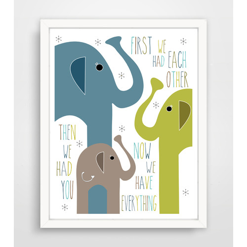 Finny and Zook 'First We Had Each Other Then We Had You Now We Have Everything' Blue Elephant Family Paper Print