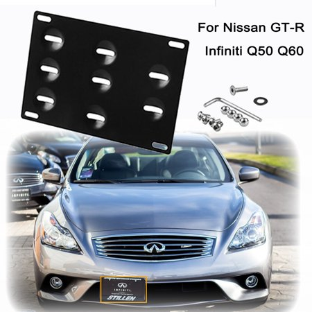 Xotic Tech Front Tow Hook License Plate Bumper Mounting Bracket FOR INFINITI Q50 Q60 NISSAN GT-R[Black] ()