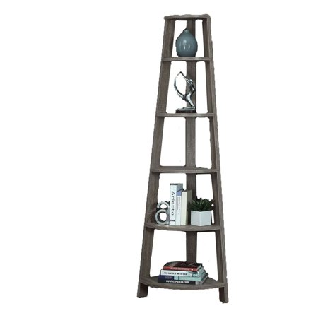 Monarch Specialties 71 Inch Dark Taupe Corner Accent Etagere Bookcase (2 Pack) ()