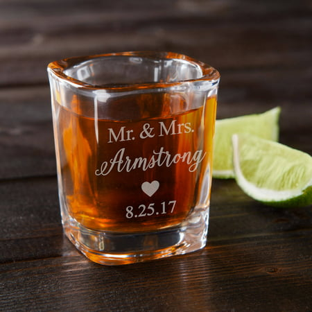 Mr. & Mrs. Personalized Shot - Personalized Shot Glasses Cheap No Minimum
